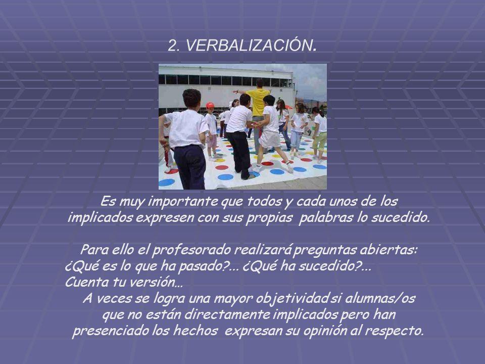 2. VERBALIZACIÓN. Es muy importante que todos y cada unos de los implicados expresen con sus propias palabras lo sucedido.