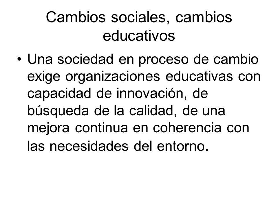 Cambios sociales, cambios educativos