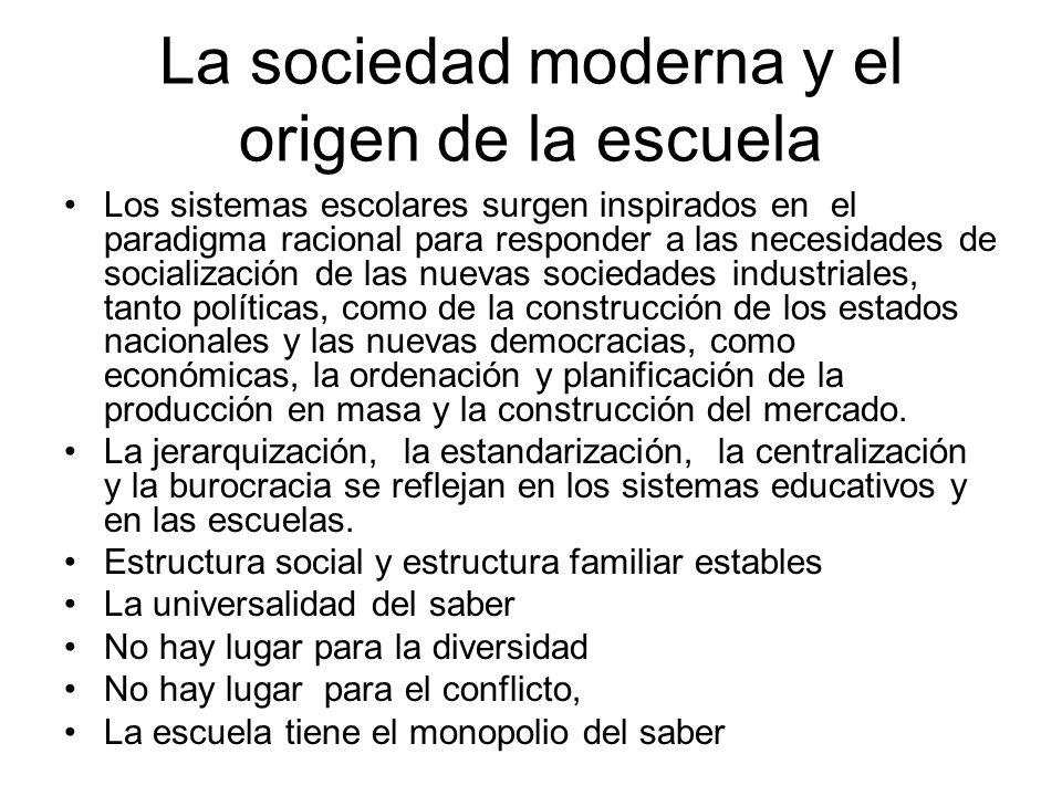 La sociedad moderna y el origen de la escuela