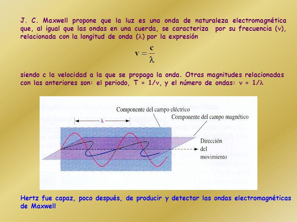 J. C. Maxwell propone que la luz es una onda de naturaleza electromagnética que, al igual que las ondas en una cuerda, se caracteriza por su frecuencia (), relacionada con la longitud de onda () por la expresión
