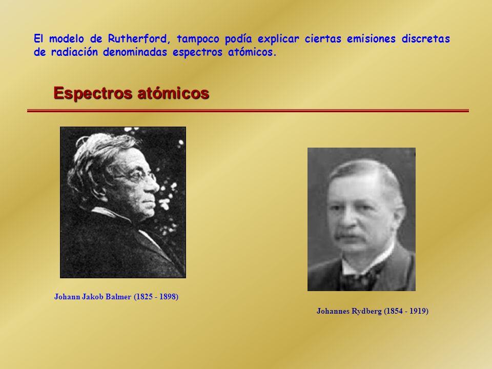 El modelo de Rutherford, tampoco podía explicar ciertas emisiones discretas de radiación denominadas espectros atómicos.
