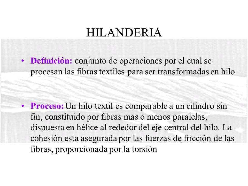 HILANDERIA Definición: conjunto de operaciones por el cual se procesan las fibras textiles para ser transformadas en hilo.