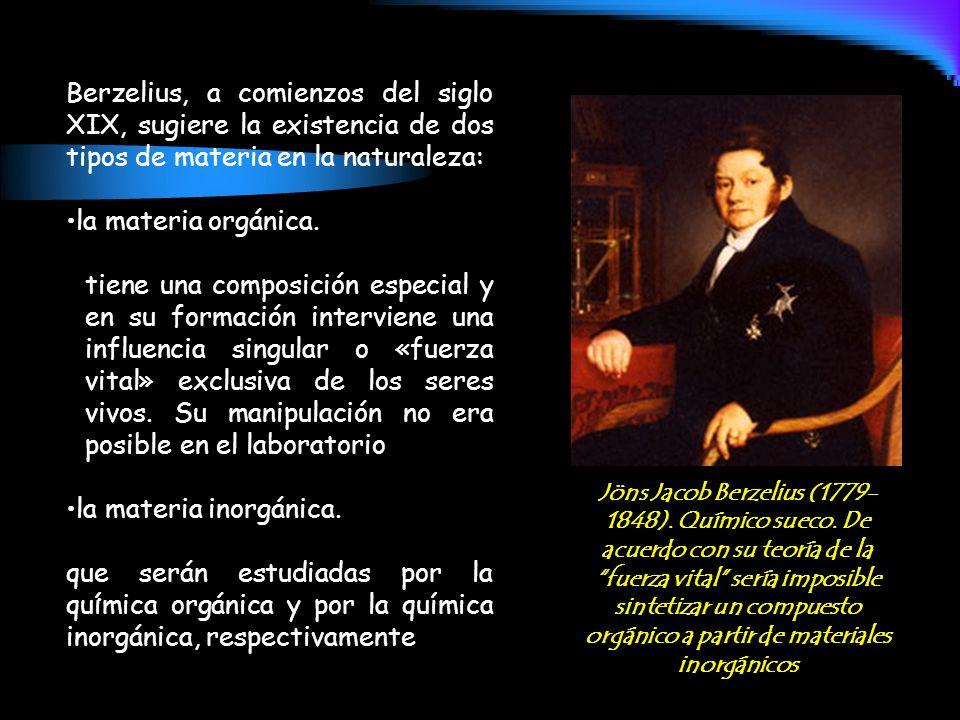 Berzelius, a comienzos del siglo XIX, sugiere la existencia de dos tipos de materia en la naturaleza: