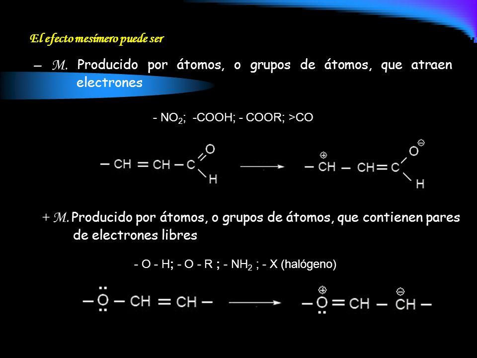 – M. Producido por átomos, o grupos de átomos, que atraen electrones
