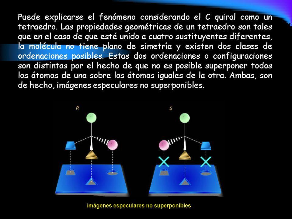Puede explicarse el fenómeno considerando el C quiral como un tetraedro.