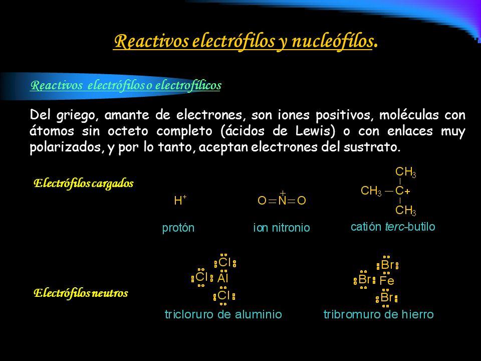 Reactivos electrófilos y nucleófílos.