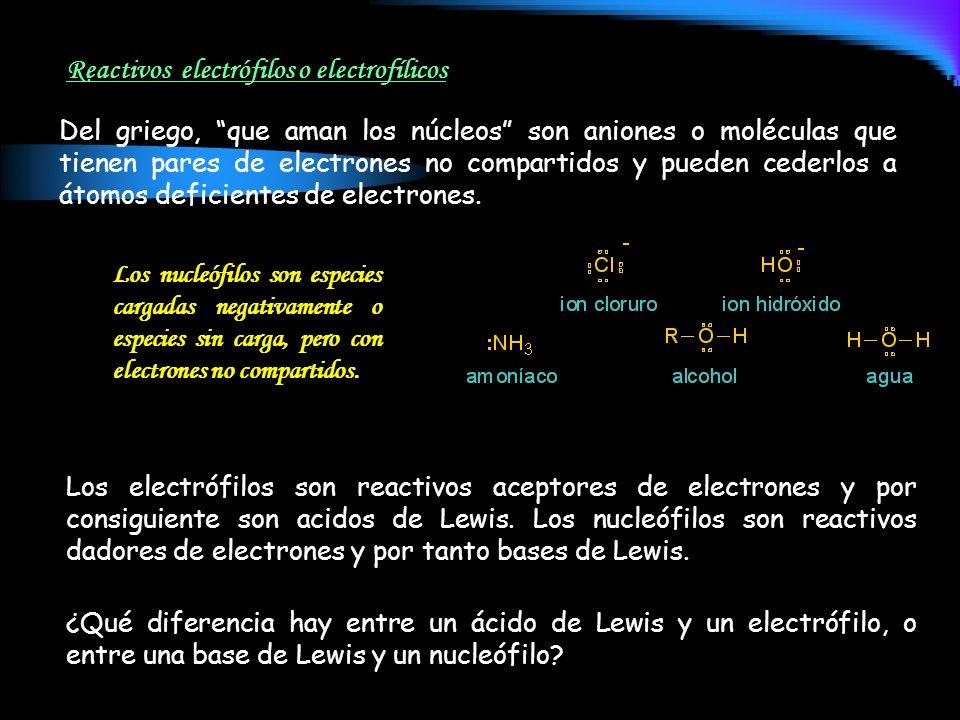 Reactivos electrófilos o electrofílicos