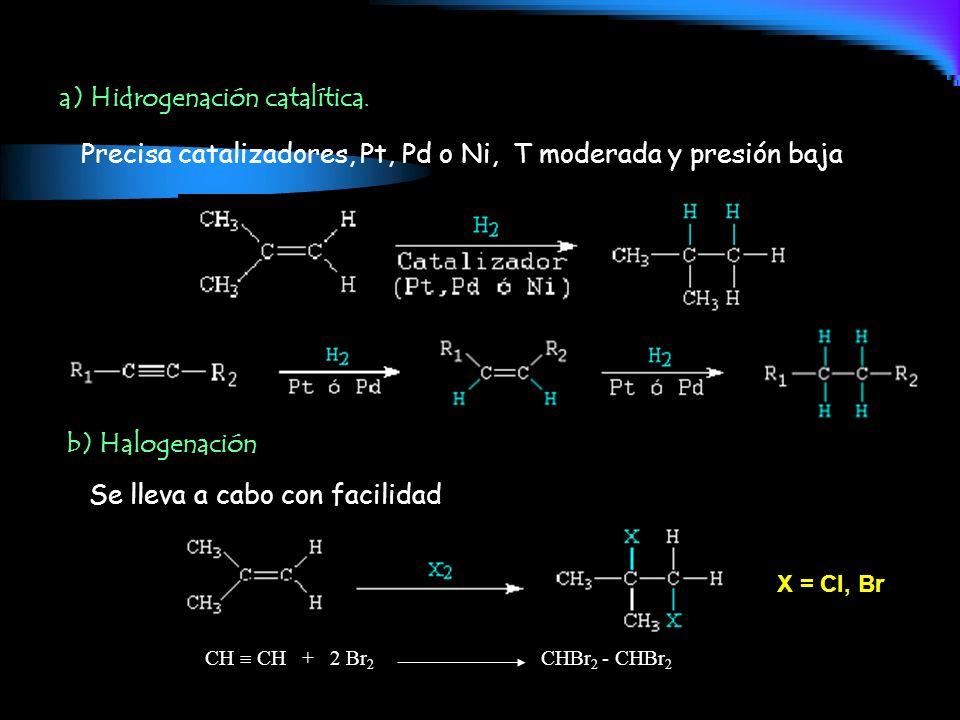 a) Hidrogenación catalítica.