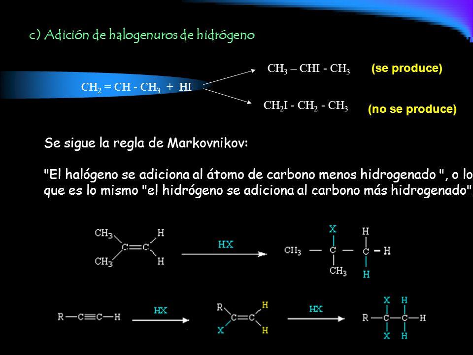 c) Adición de halogenuros de hidrógeno