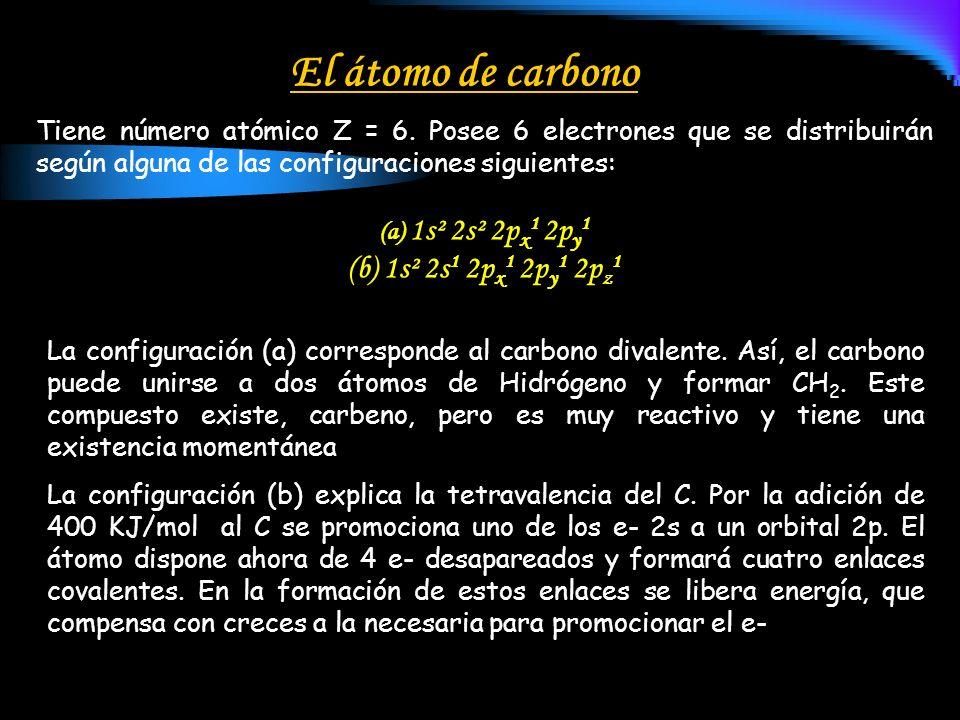 El átomo de carbono 1s² 2s1 2px1 2py1 2pz1