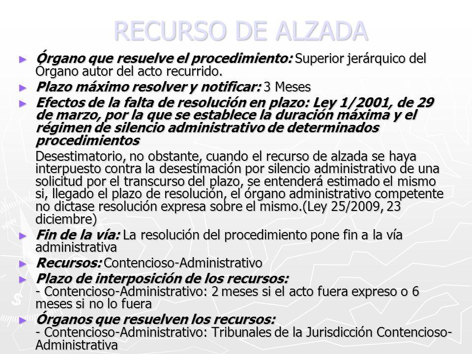 RECURSO DE ALZADA Órgano que resuelve el procedimiento: Superior jerárquico del Órgano autor del acto recurrido.