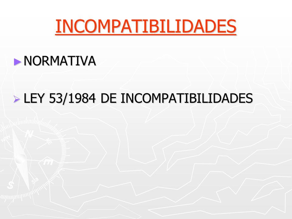 INCOMPATIBILIDADES NORMATIVA LEY 53/1984 DE INCOMPATIBILIDADES