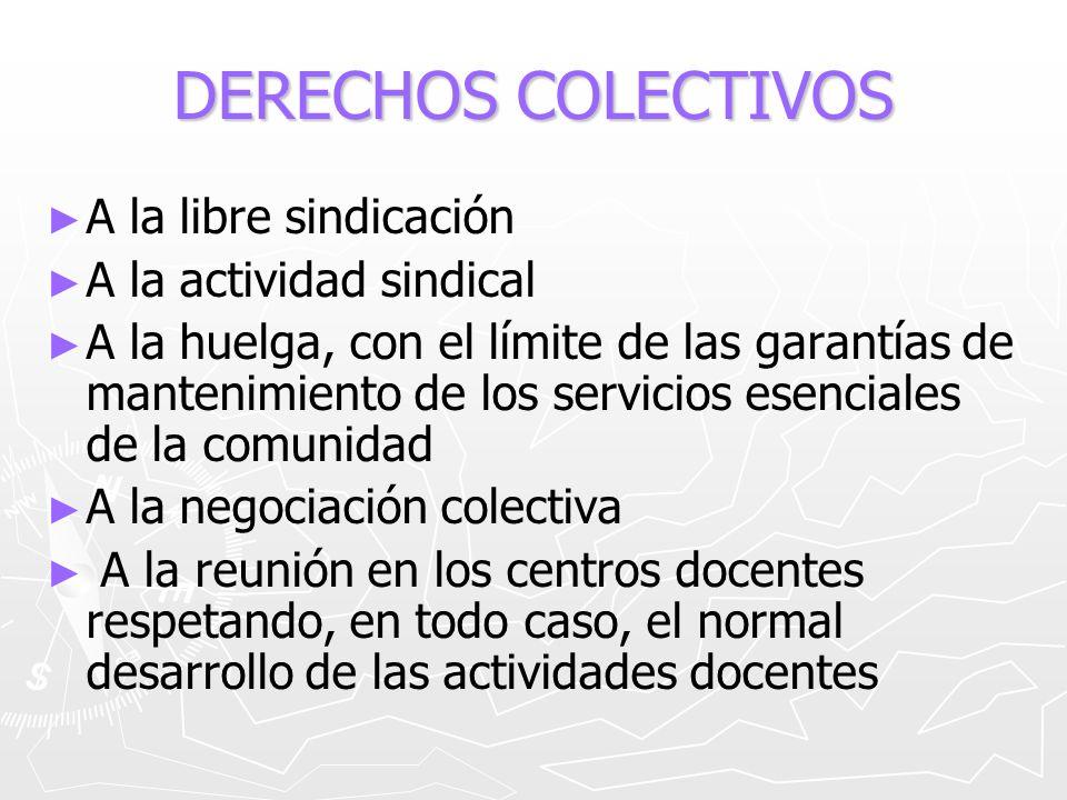 DERECHOS COLECTIVOS A la libre sindicación A la actividad sindical