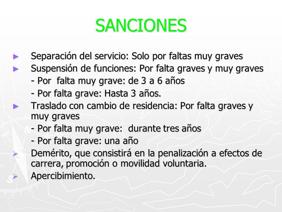 SANCIONES Separación del servicio: Solo por faltas muy graves