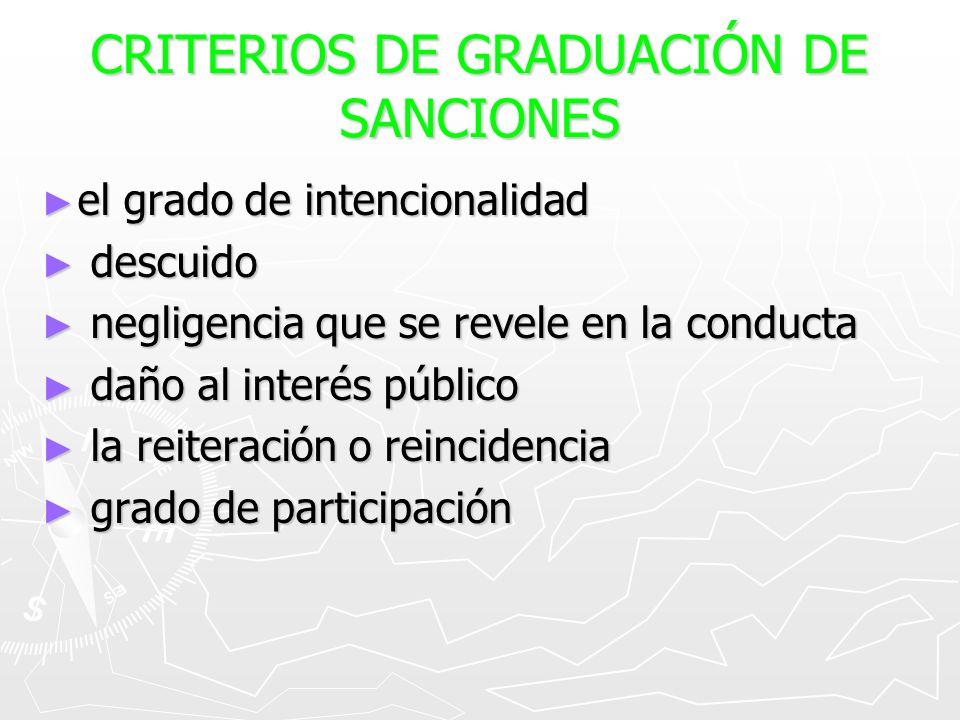 CRITERIOS DE GRADUACIÓN DE SANCIONES
