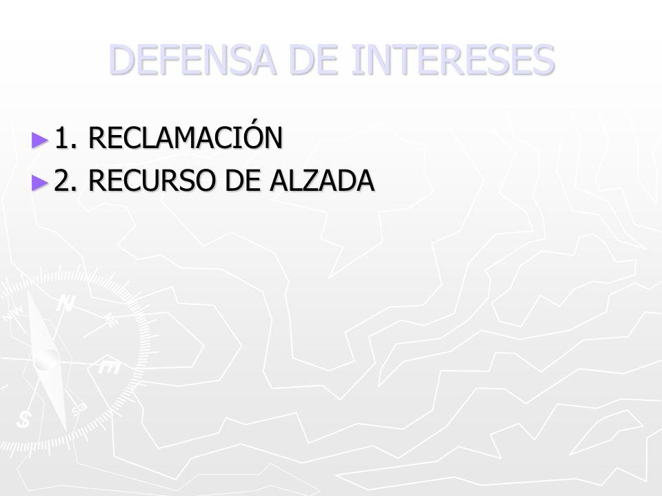 DEFENSA DE INTERESES 1. RECLAMACIÓN 2. RECURSO DE ALZADA