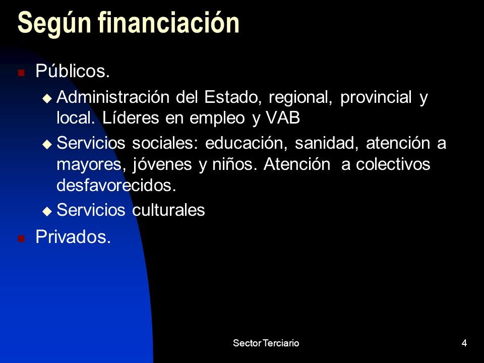 Según financiación Públicos. Privados.