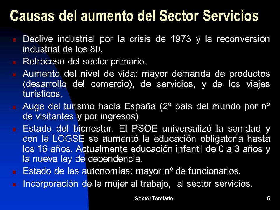 Causas del aumento del Sector Servicios
