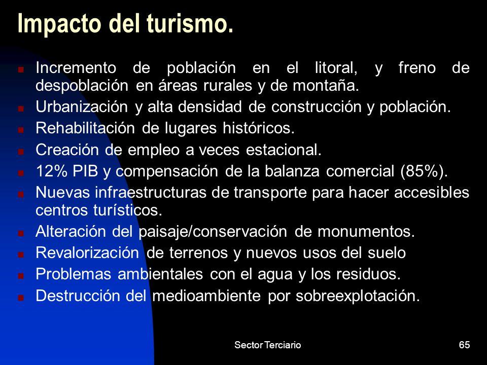 Impacto del turismo. Incremento de población en el litoral, y freno de despoblación en áreas rurales y de montaña.