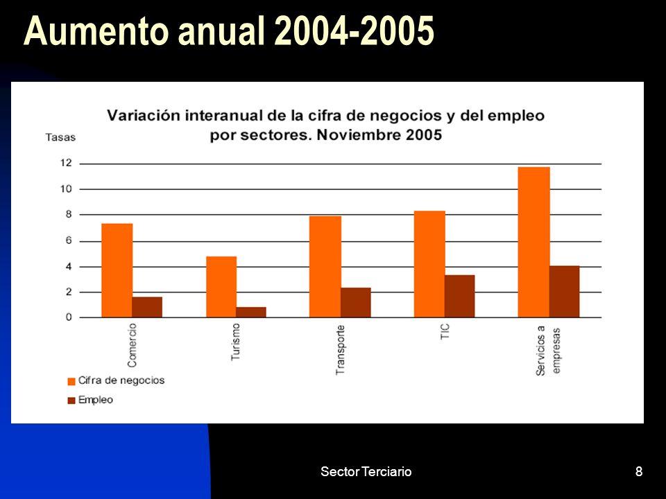 Aumento anual 2004-2005 Sector Terciario