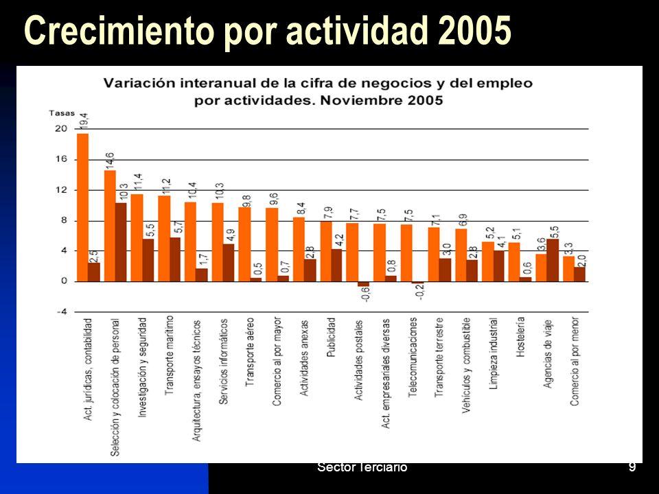 Crecimiento por actividad 2005