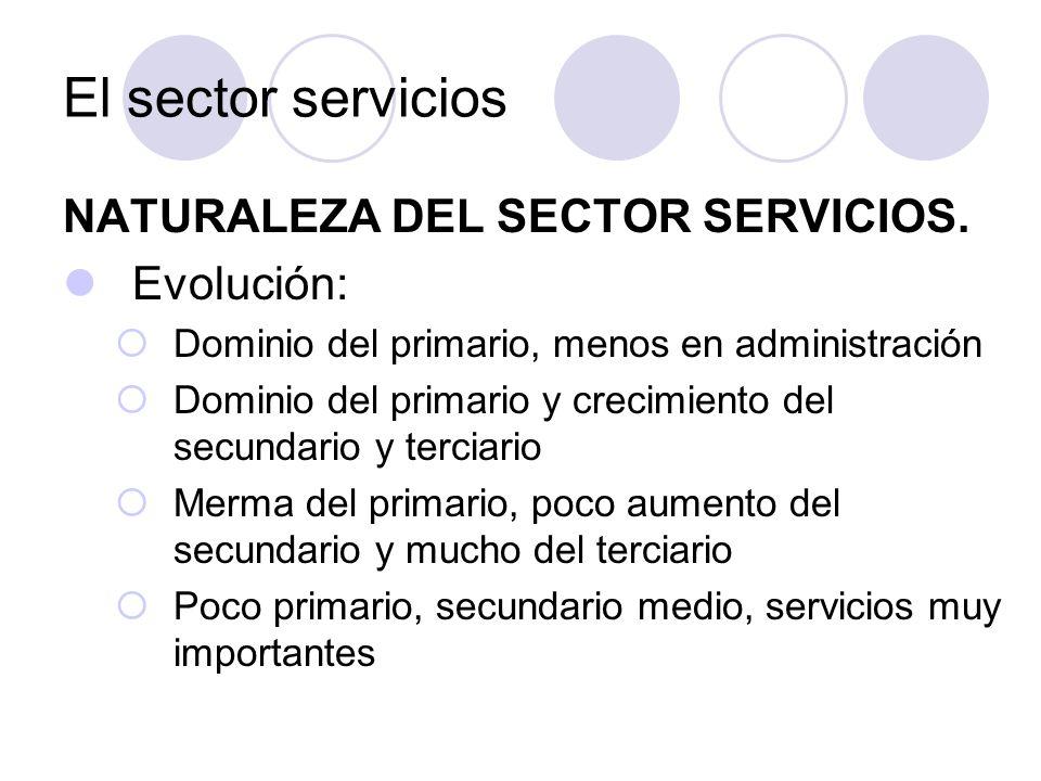 El sector servicios NATURALEZA DEL SECTOR SERVICIOS. Evolución: