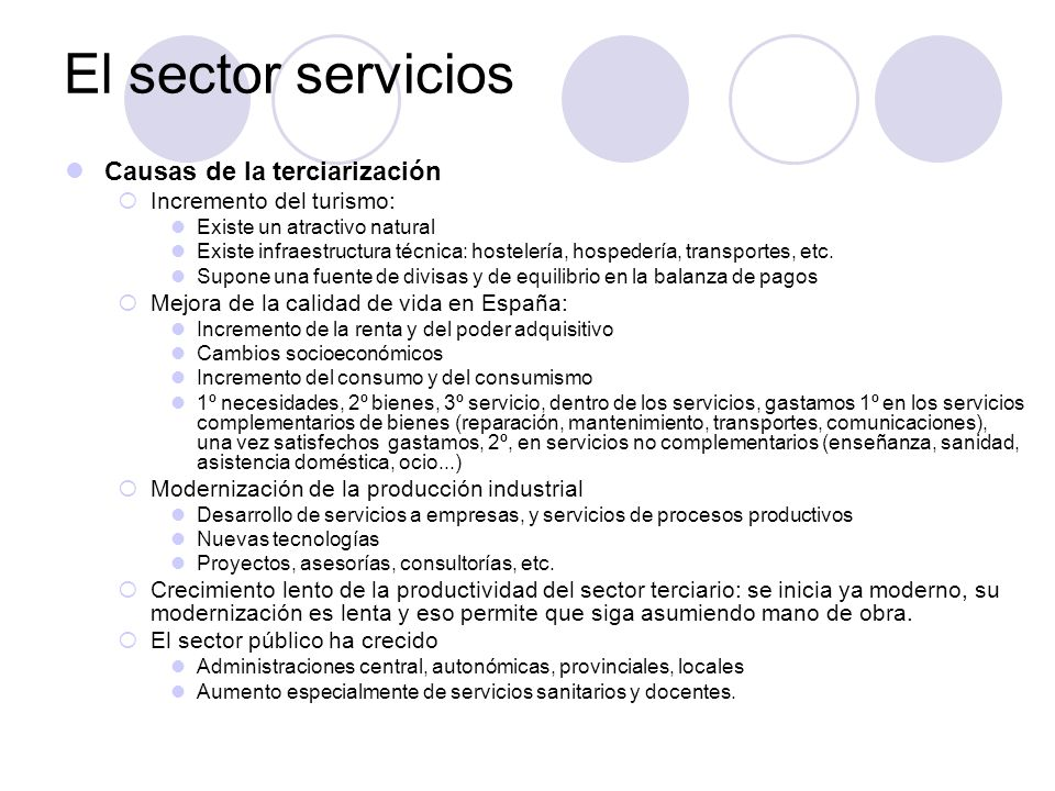 El sector servicios Causas de la terciarización