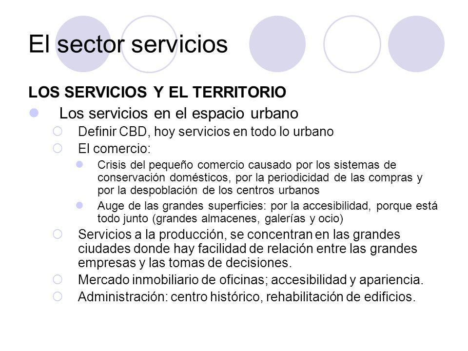 El sector servicios LOS SERVICIOS Y EL TERRITORIO
