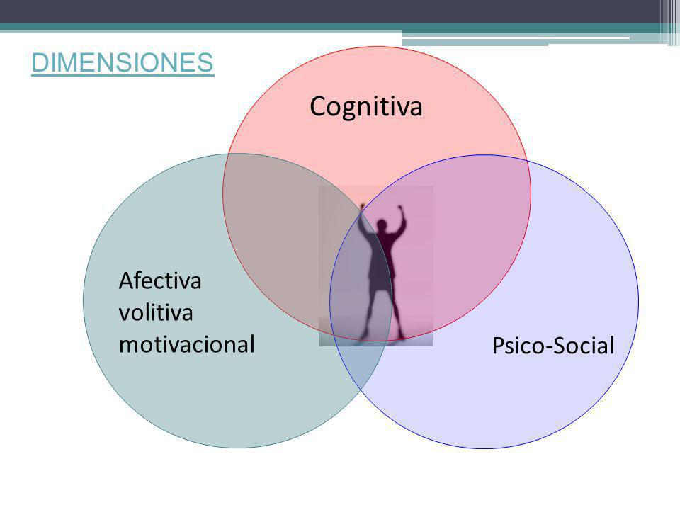 DIMENSIONES Cognitiva Afectiva volitiva motivacional Psico-Social