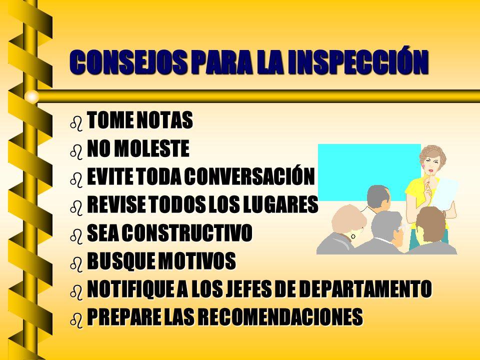 CONSEJOS PARA LA INSPECCIÓN