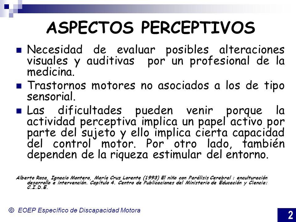 ASPECTOS PERCEPTIVOS Necesidad de evaluar posibles alteraciones visuales y auditivas por un profesional de la medicina.