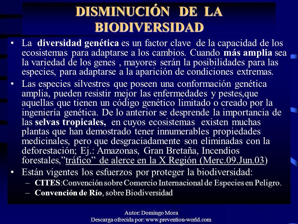 DISMINUCIÓN DE LA BIODIVERSIDAD