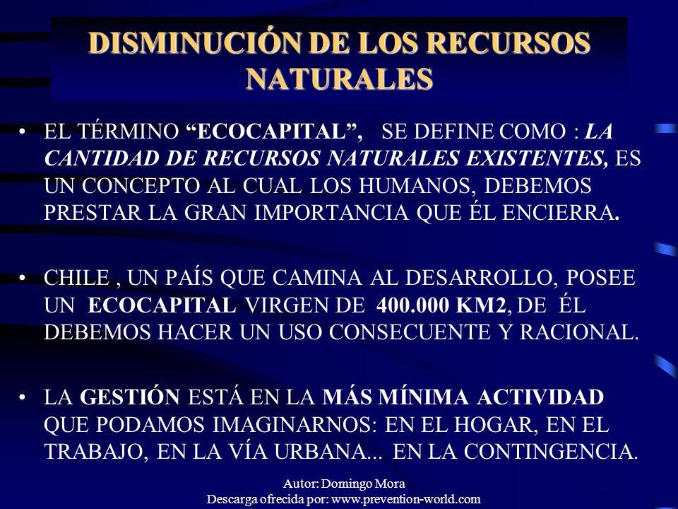 DISMINUCIÓN DE LOS RECURSOS NATURALES