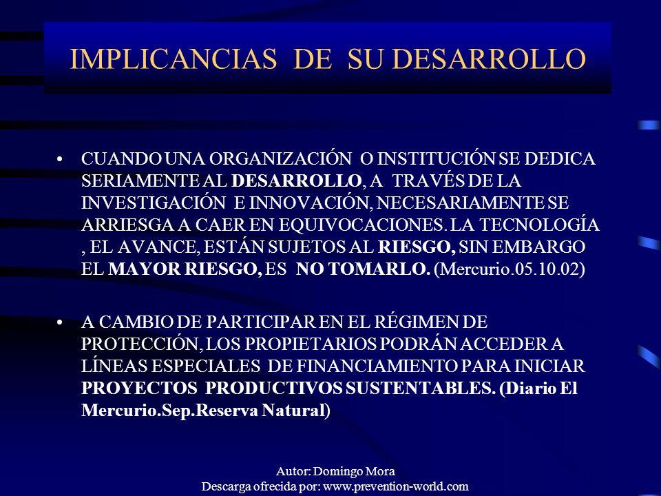 IMPLICANCIAS DE SU DESARROLLO