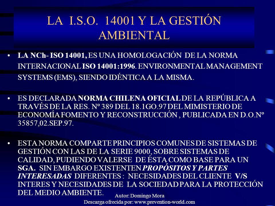 LA I.S.O. 14001 Y LA GESTIÓN AMBIENTAL