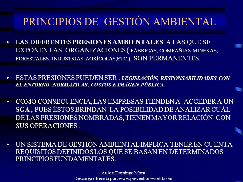 PRINCIPIOS DE GESTIÓN AMBIENTAL