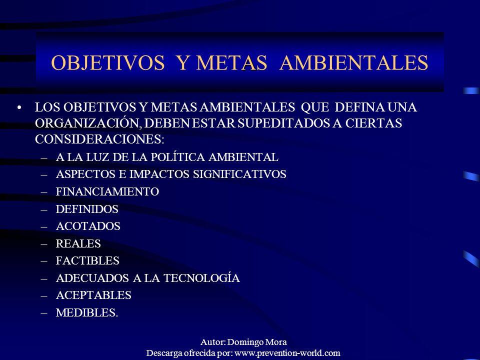 OBJETIVOS Y METAS AMBIENTALES