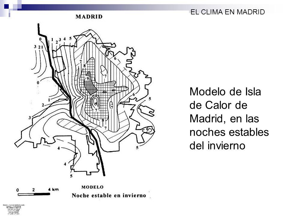 Modelo de Isla de Calor de Madrid, en las noches estables del invierno