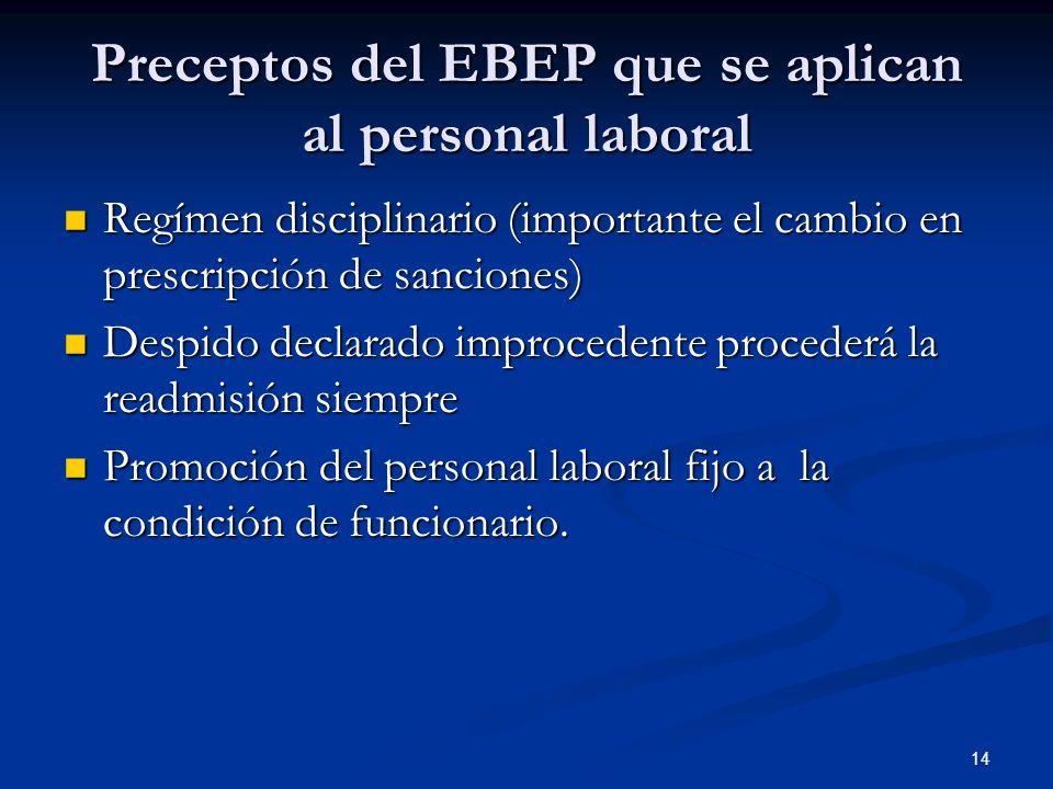Preceptos del EBEP que se aplican al personal laboral