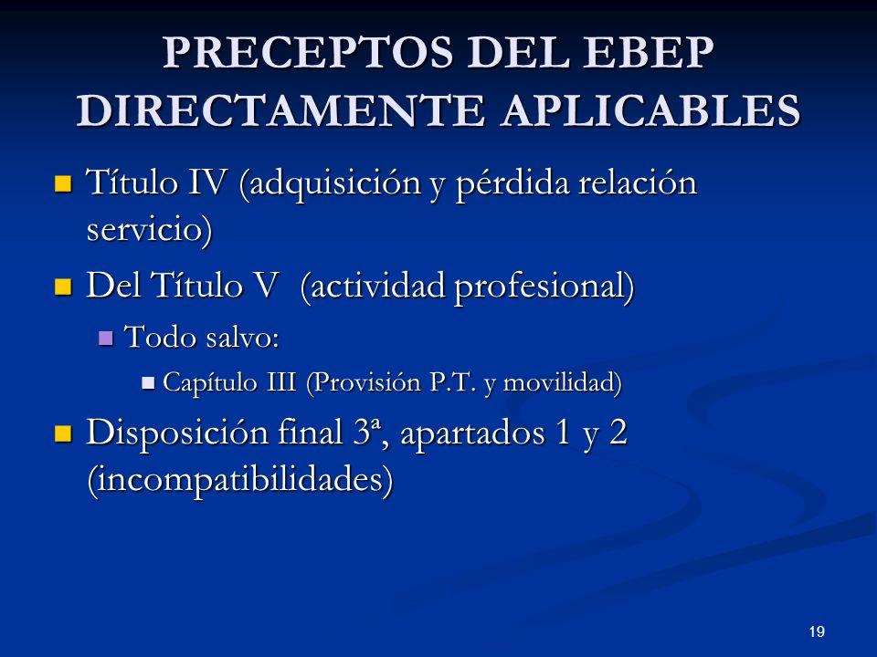 PRECEPTOS DEL EBEP DIRECTAMENTE APLICABLES