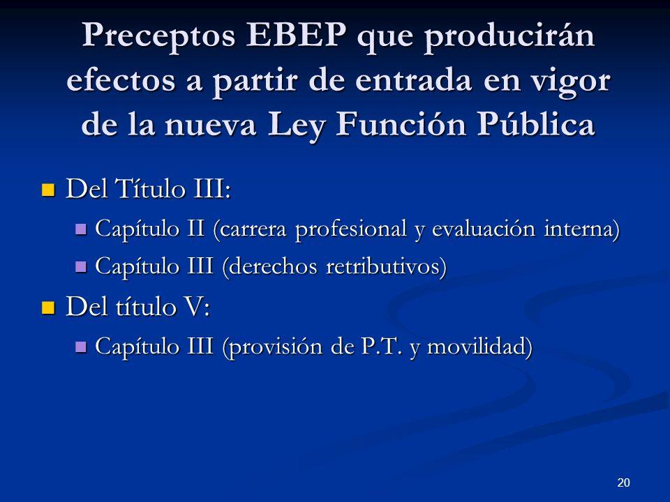 Preceptos EBEP que producirán efectos a partir de entrada en vigor de la nueva Ley Función Pública