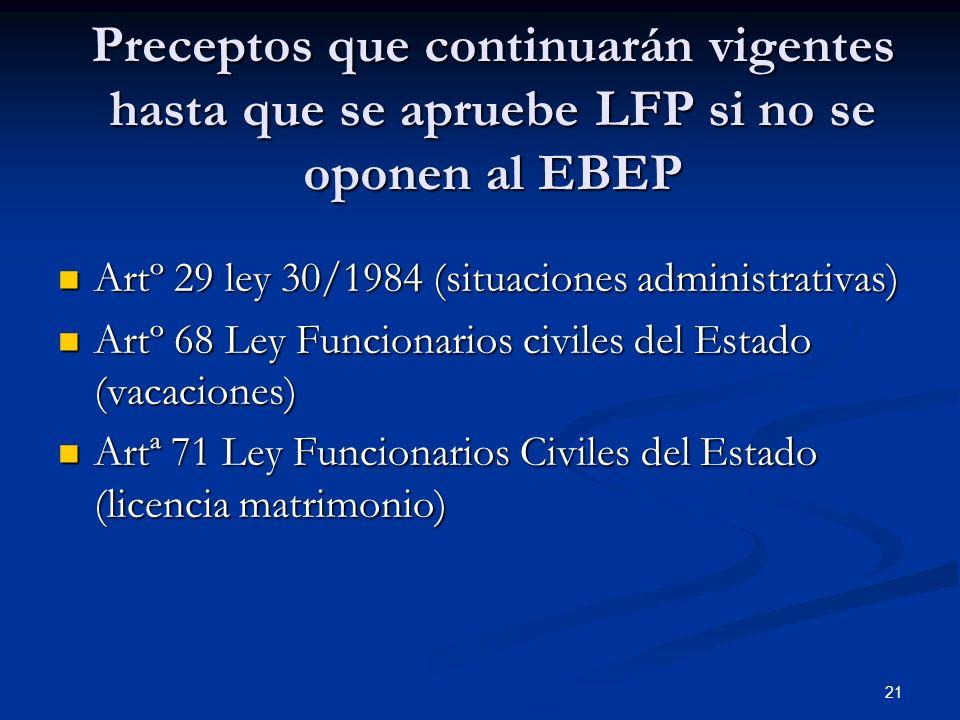 Preceptos que continuarán vigentes hasta que se apruebe LFP si no se oponen al EBEP