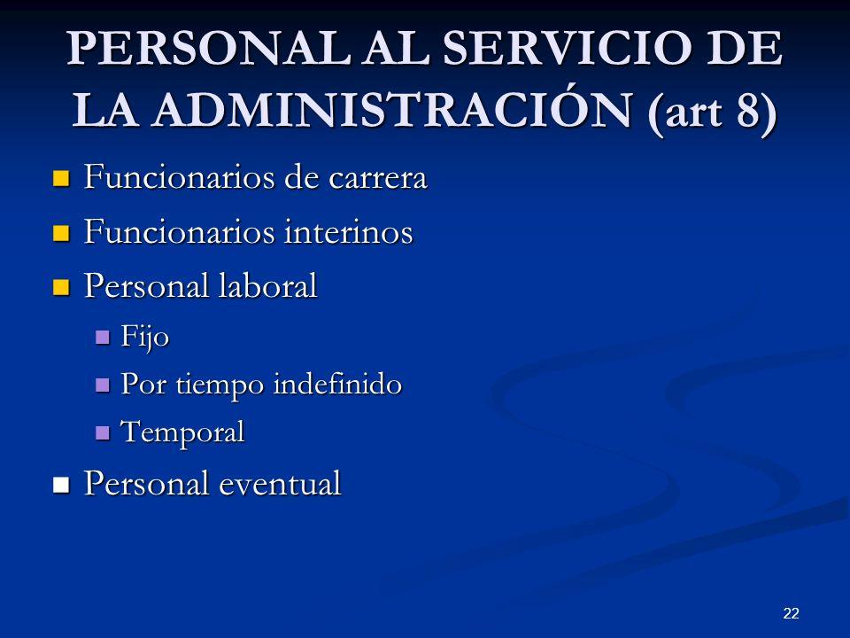 PERSONAL AL SERVICIO DE LA ADMINISTRACIÓN (art 8)