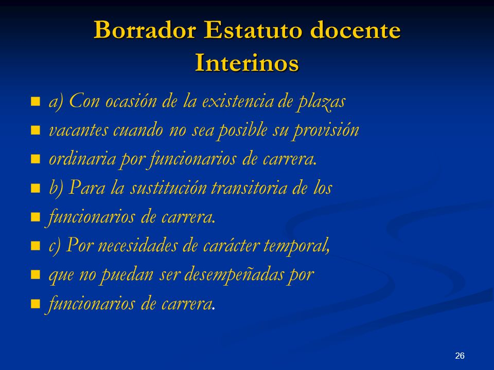 Borrador Estatuto docente Interinos