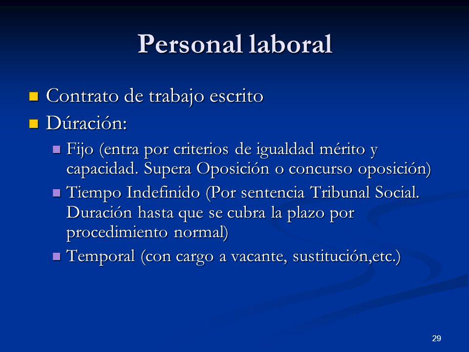 Personal laboral Contrato de trabajo escrito Dúración: