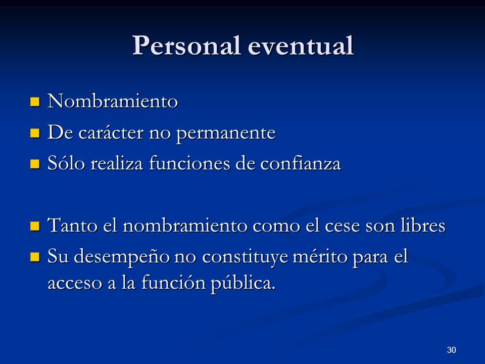 Personal eventual Nombramiento De carácter no permanente