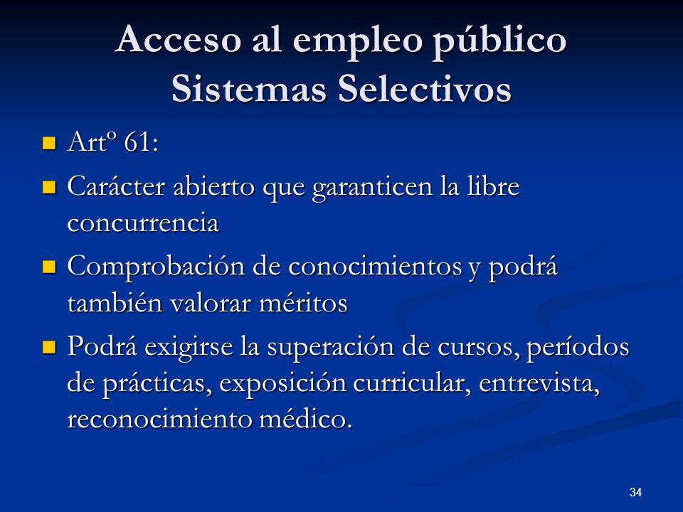 Acceso al empleo público Sistemas Selectivos