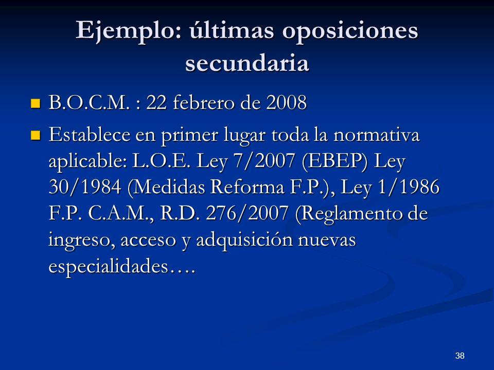 Ejemplo: últimas oposiciones secundaria