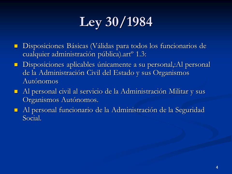 Ley 30/1984Disposiciones Básicas (Válidas para todos los funcionarios de cualquier administración pública).artº 1.3: