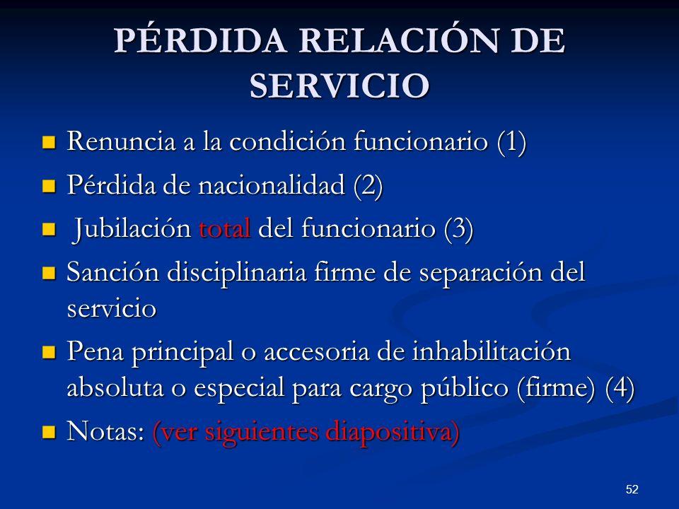 PÉRDIDA RELACIÓN DE SERVICIO